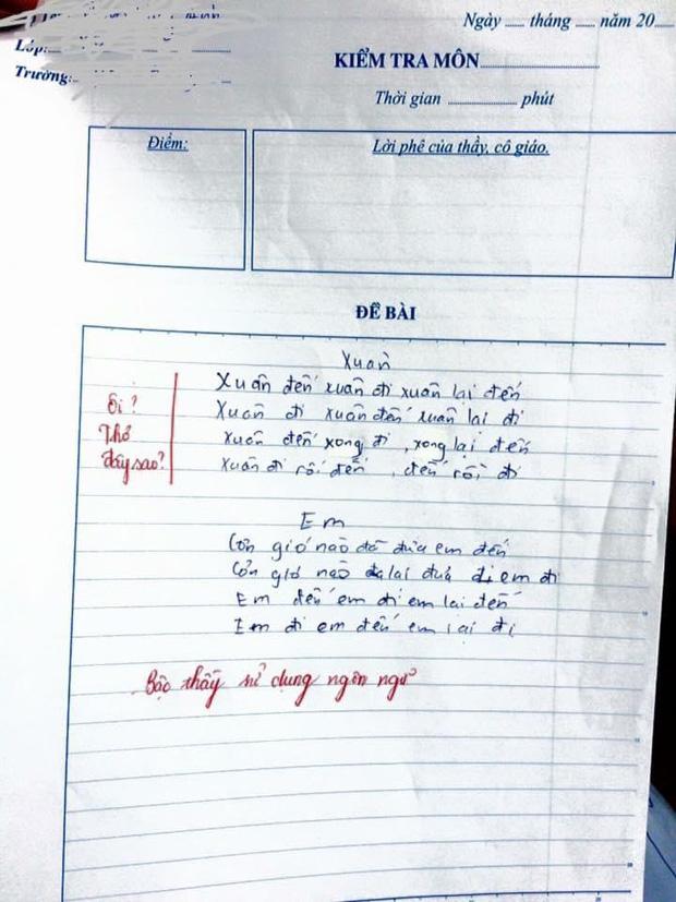 Học trò 'tức cảnh sinh tình', sáng tác thơ trong vòng 5 phút, giáo viên thẳng tay phê: Bậc thầy ngôn ngữ! - ảnh 1