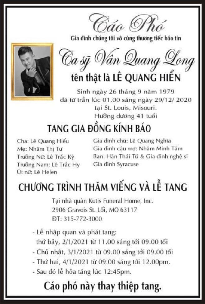 Từ Mỹ, Hàn Thái Tú: Chi phí tang lễ cho Vân Quang Long do anh em bạn bè thân lo - Ảnh 3.