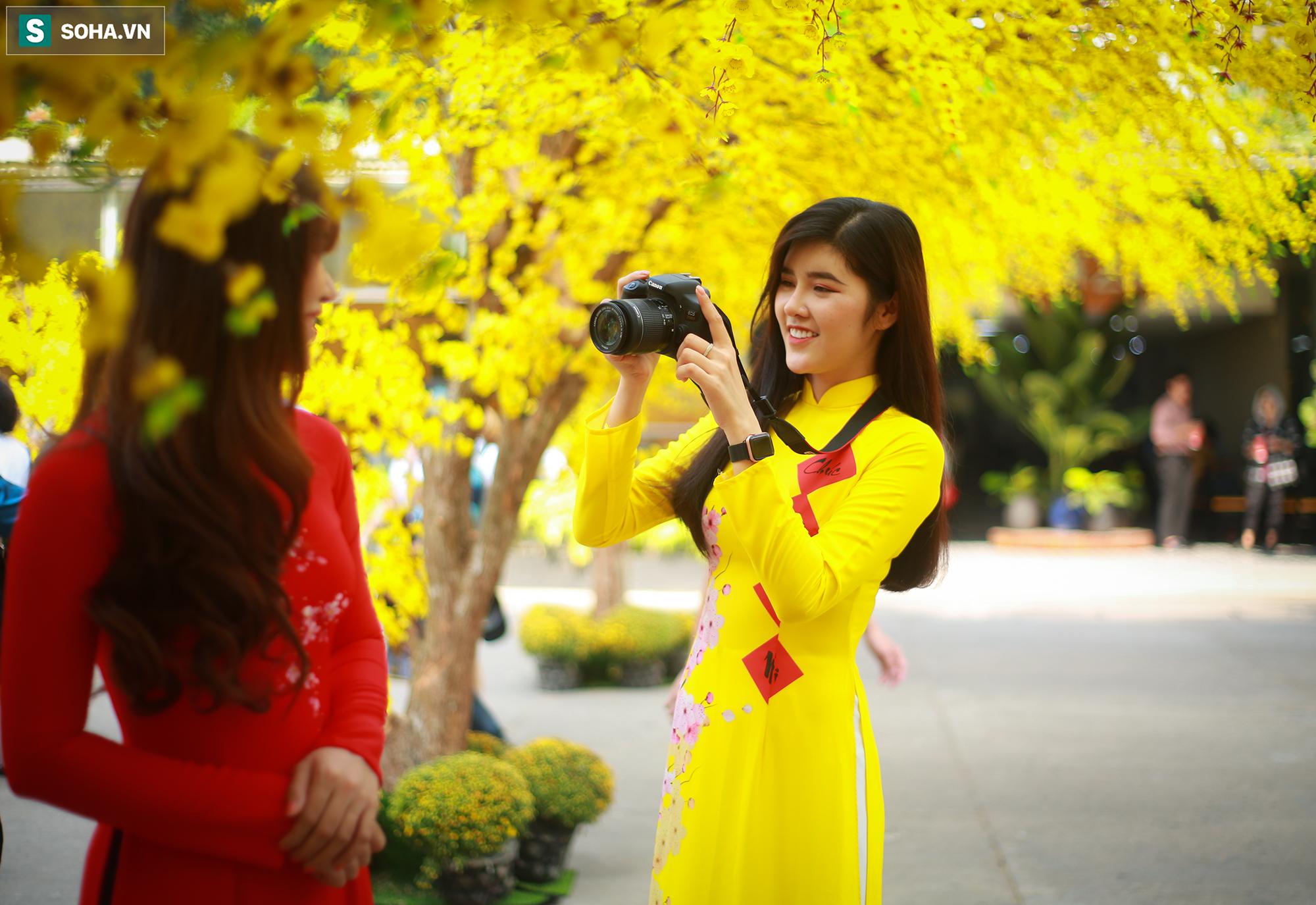 [Ảnh] Thiếu nữ Sài Gòn xinh đẹp xúng xính áo dài check-in sống ảo ở con đường hoa mai - Ảnh 2.