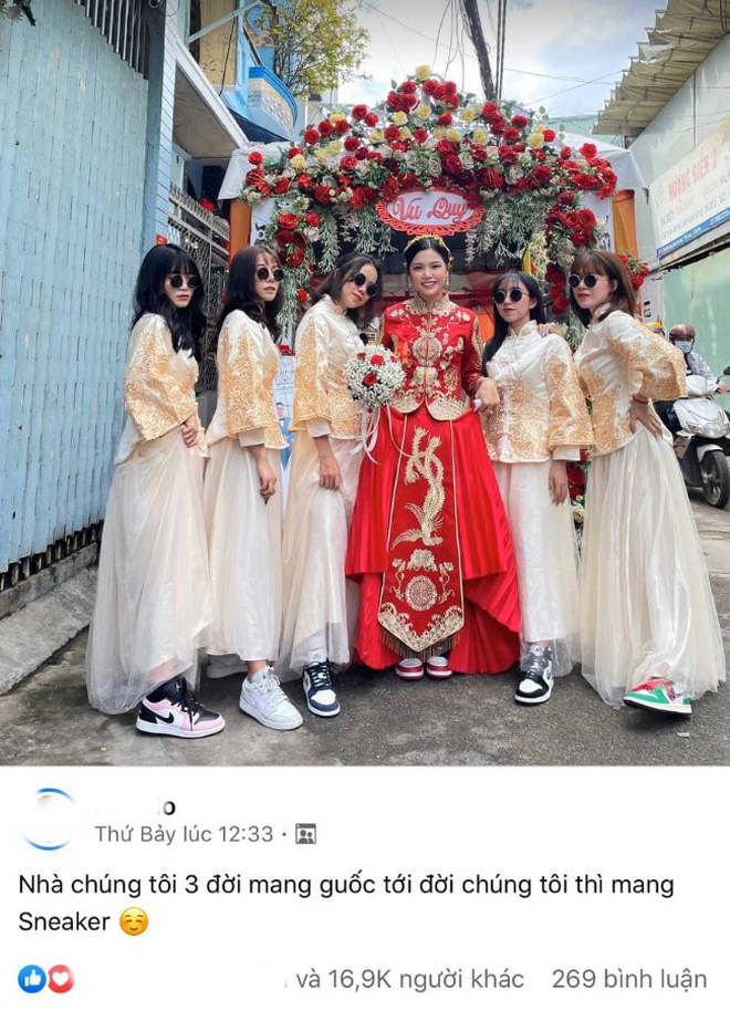 Lác mắt trước hội nhà gái theo hệ sneaker, toàn Air Jordan xịn sò trong đám cưới của cô dâu gốc Hoa - Ảnh 5.