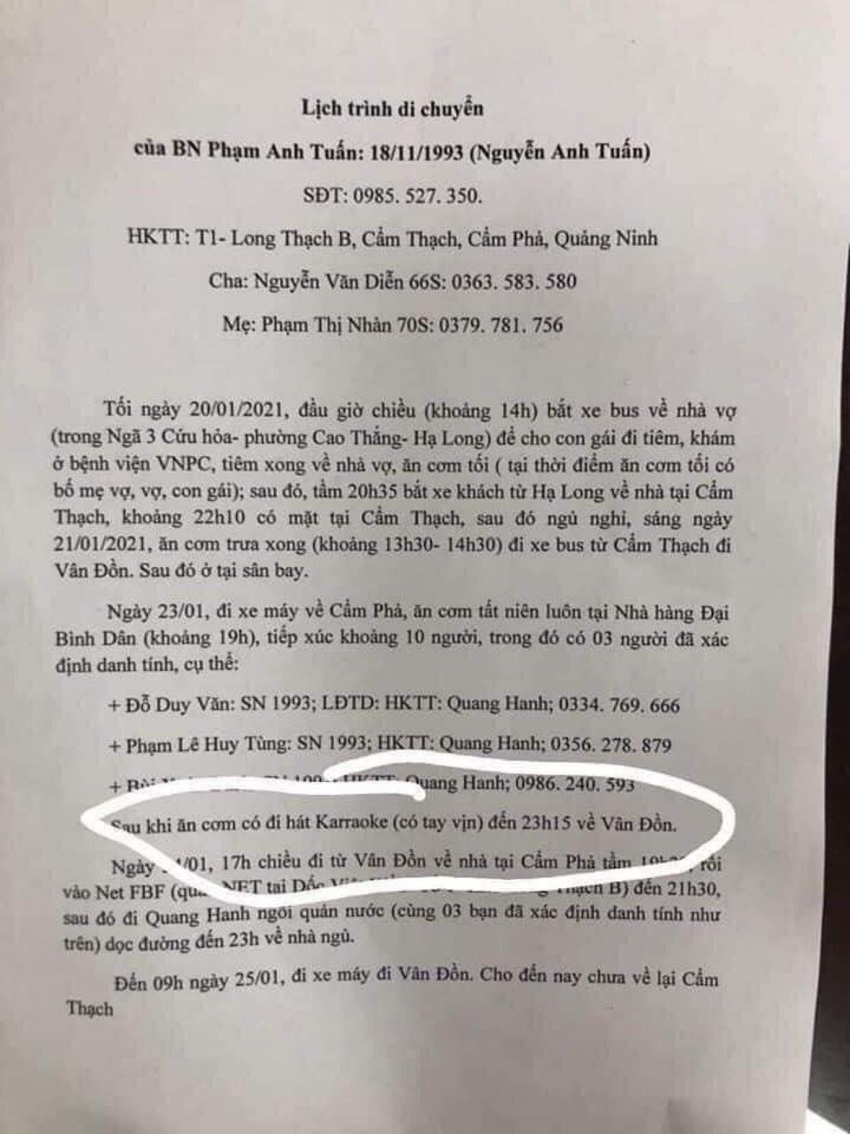 Lập danh sách, triệu tập người chia sẻ tin bệnh nhân nhiễm Covid-19 ở Quảng Ninh đi karaoke có tay vịn - Ảnh 1.