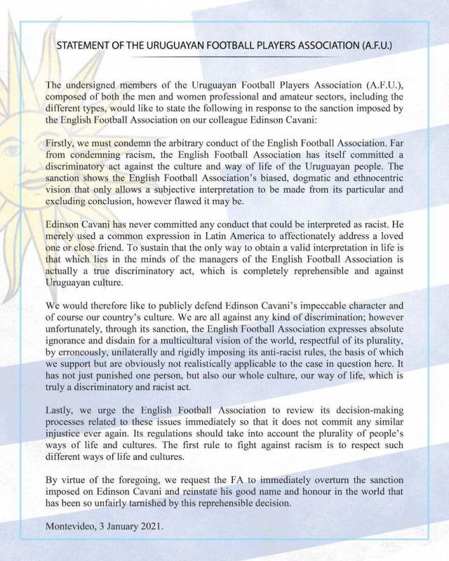 Liên đoàn bóng đá Uruguay tuyên chiến với FA vì lệnh cấm Cavani - Ảnh 2.