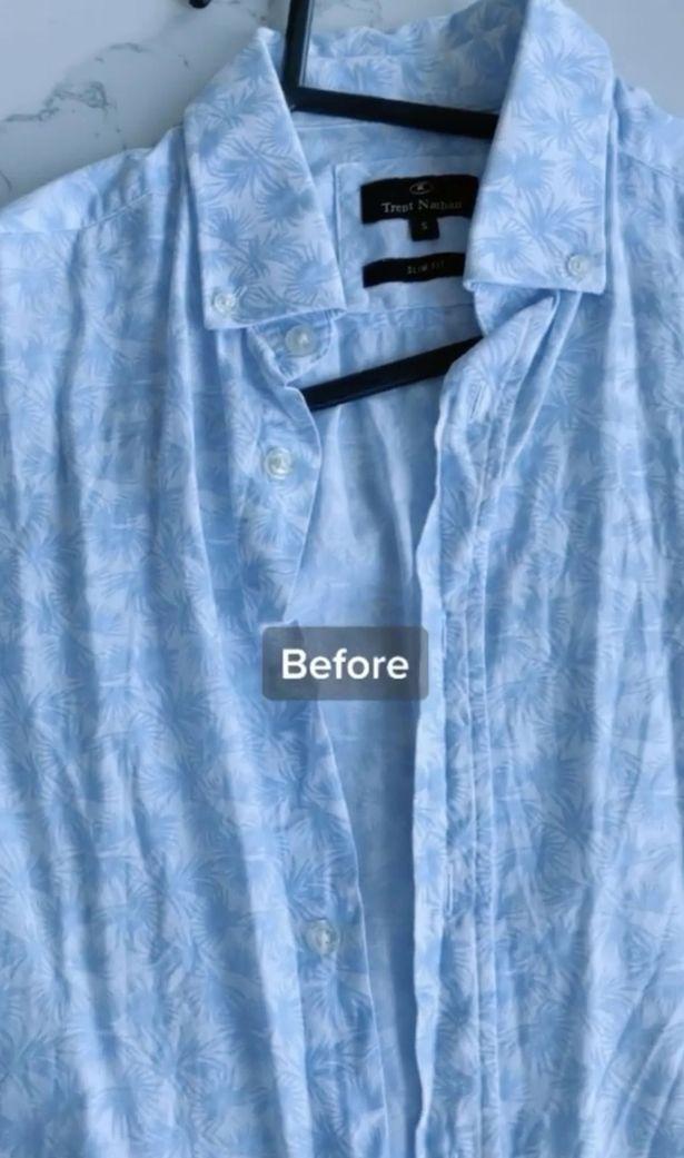 Đây là hình ảnh chiếc áo nhầu nhĩ trước khi được bà mẹ Mila là phẳng.