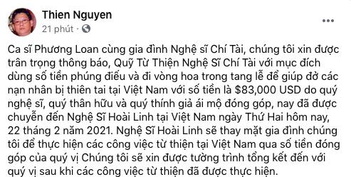 Gia đình cố nghệ sĩ Chí Tài gửi Hoài Linh gần 2 tỷ đồng, nhờ làm từ thiện - Ảnh 1.