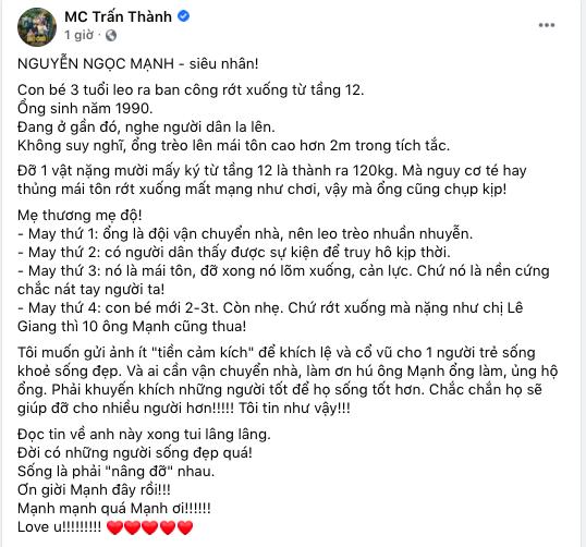 Cảm kích Nguyễn Ngọc Mạnh, Trấn Thành chỉ ra 4 điều cốt tử và quyết định làm 1 việc bất ngờ - Ảnh 2.