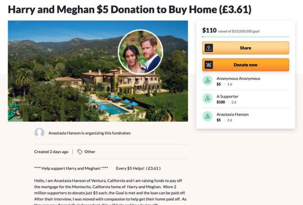 Chuyện thật như đùa: Dân Mỹ rủ nhau quyên góp giúp vợ chồng Meghan mua nhà sau màn than khổ bị cắt tài chính, Harry có thực sự nghèo đến như vậy? - Ảnh 1.