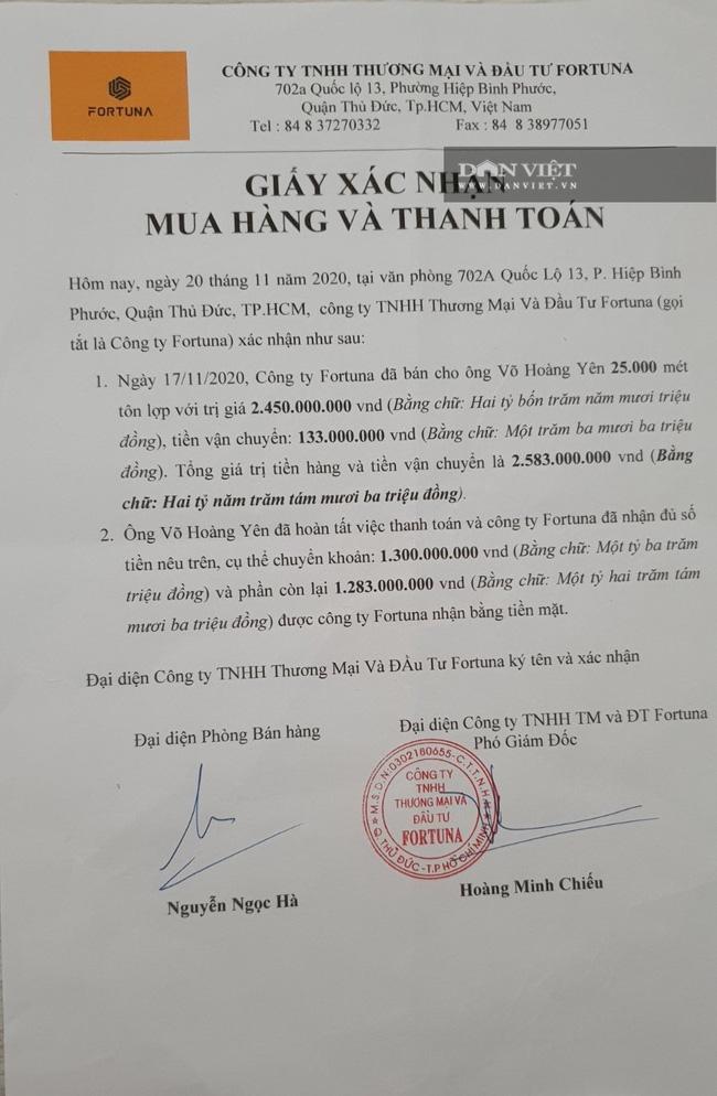 """Ông Võ Hoàng Yên bị tố """"ăn chặn"""" tiền cứu trợ: Có trốn thuế khi mua 25.000 mét tôn từ Công ty Fortuna? - Ảnh 1."""