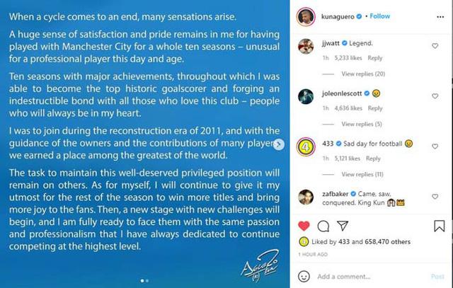 Aguero viết tâm thư tri ân Manchester City - Ảnh 3.