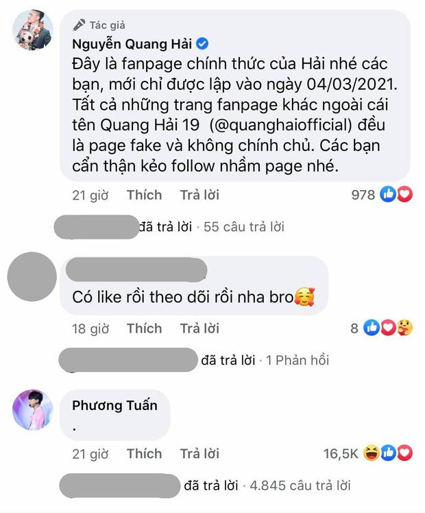 Quang Hải thông báo lập fanpage, có một người vô chấm 1 cái đã giật sạch spotlight với 16,5k lượt like - Ảnh 2.
