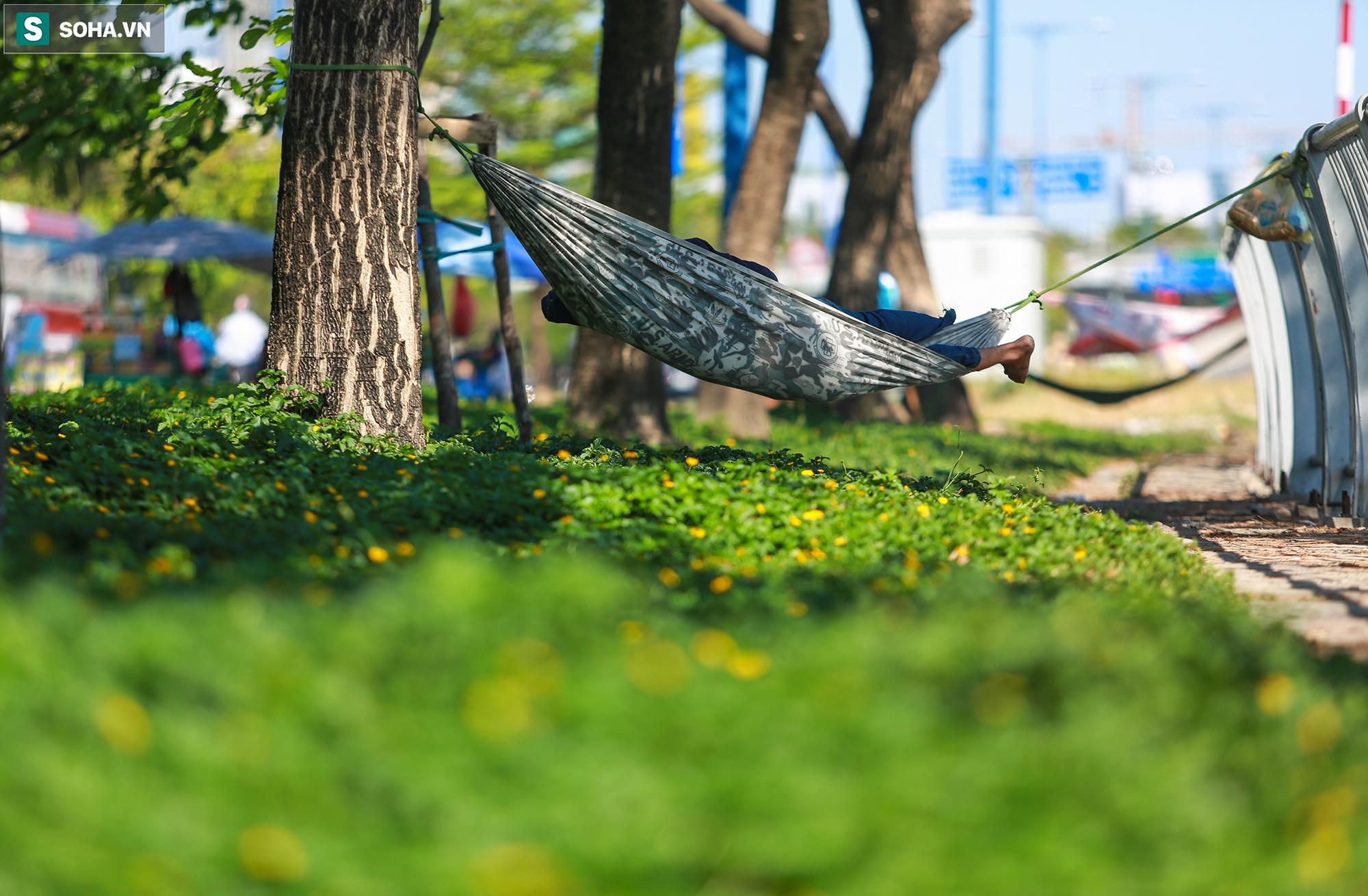 [ẢNH] Đường Sài Gòn nóng như thiêu, người dân vật vã tránh nóng ở góc cây, gầm cầu - Ảnh 12.