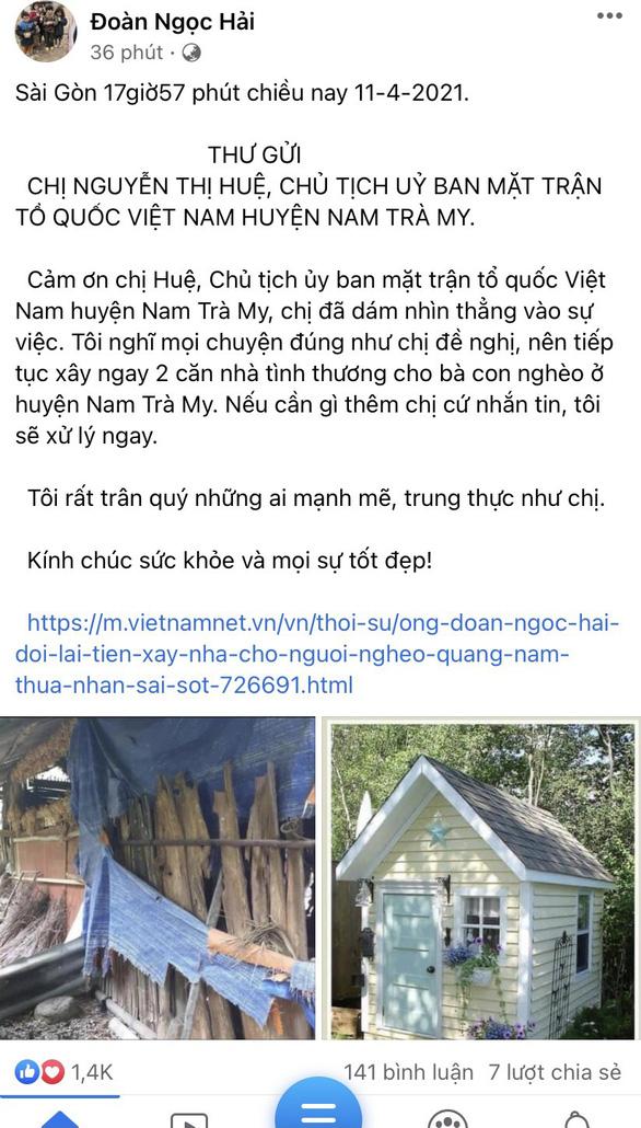 Ông Đoàn Ngọc Hải vừa quyết định không đòi lại tiền nữa, tiếp tục xây nhà cho người nghèo - Ảnh 1.