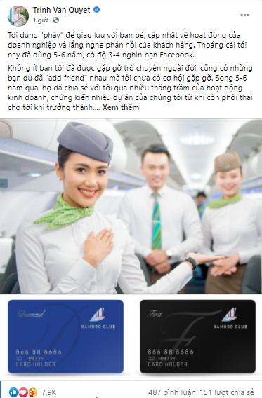 Sau phốt bán slot ảo, tỷ phú Trịnh Văn Quyết chơi lớn tặng thẻ Diamond Bamboo Airways cho tất cả bạn bè trên Facebook - Ảnh 1.