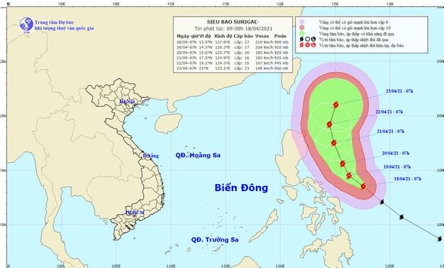 Siêu bão Surigae rất mạnh, các tỉnh từ Quảng Ninh đến Cà Mau chủ động thông báo cho tàu thuyền - Ảnh 1.