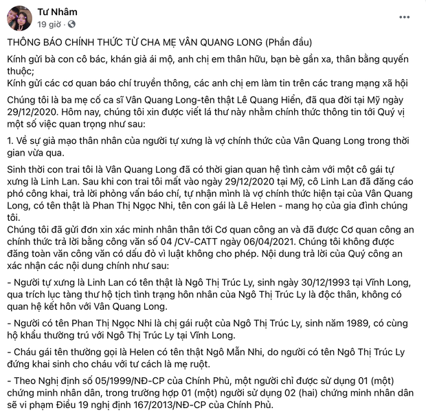 Xôn xao hình ảnh trùng khớp với lời tố của bố mẹ Vân Quang Long, nghi vấn Linh Lan đã biết cố NS có vợ ở Mỹ từ lâu? - Ảnh 3.