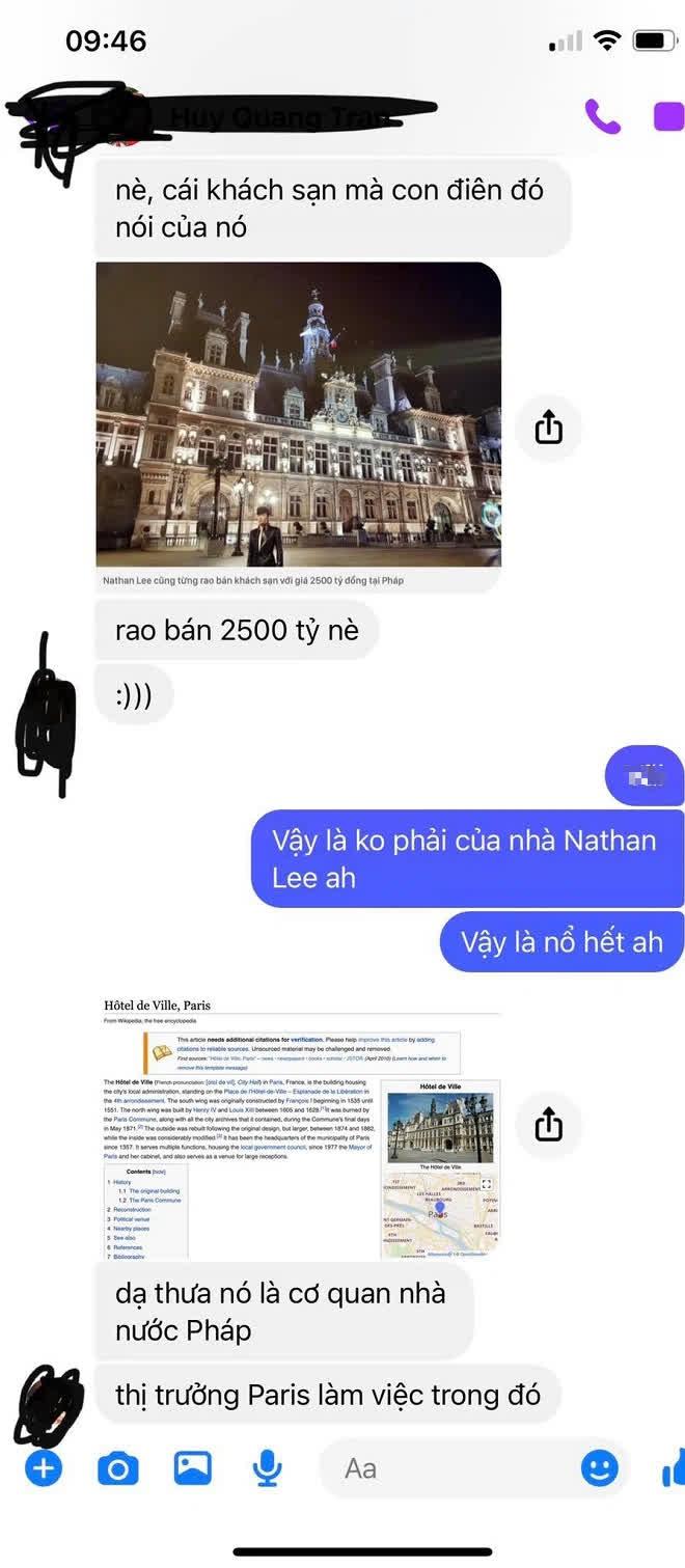 Bị Cao Thái Sơn tố nổ, rao bán cả Tòa thị chính Paris, Nathan Lee lập tức phản hồi - Ảnh 1.