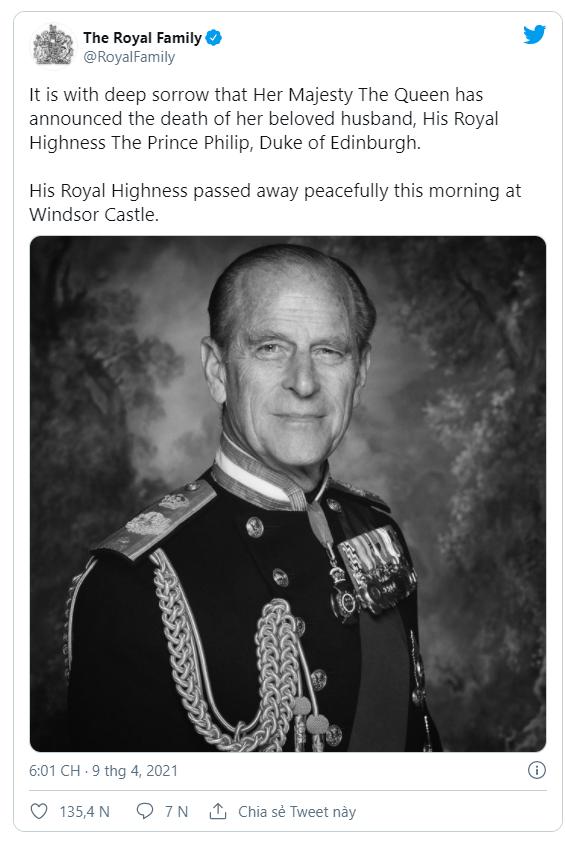NÓNG: Hoàng thân Philip, chồng Nữ hoàng Elizabeth II, qua đời ở tuổi 99 - Ảnh 1.