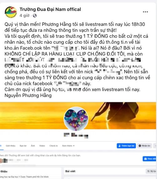 Bà Phương Hằng, vợ Dũng lò vôi treo thưởng 1 tỷ đồng để truy tìm chủ Facebook núp lùm công kích - Ảnh 2.