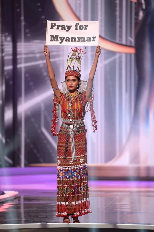 Hoa hậu Hoàn vũ Myanmar bị truy nã sau khi cầu cứu tại Chung kết Hoa hậu Hoàn vũ 2020? - Ảnh 1.