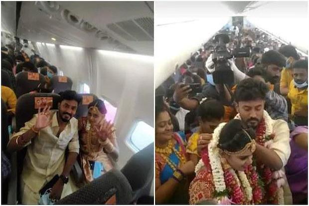 Lách luật cấm tụ tập, cặp đôi Ấn Độ tổ chức đám cưới trên máy bay, hình ảnh 161 khách chen lấn đông như kiến khiến MXH choáng váng - Ảnh 2.