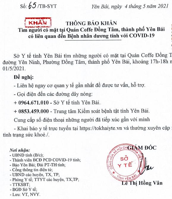 Thông báo tìm người có mặt tại Coffe Đồng Tâm, TP Yên Bái liên quan ca bệnh COVID-19 - Ảnh 1.