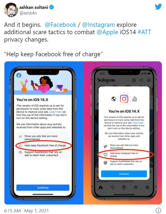 """Facebook chơi """"chiến thuật hù dọa"""" sẽ tính phí khiến người dùng iOS cho phép theo dõi ứng dụng - Ảnh 2."""