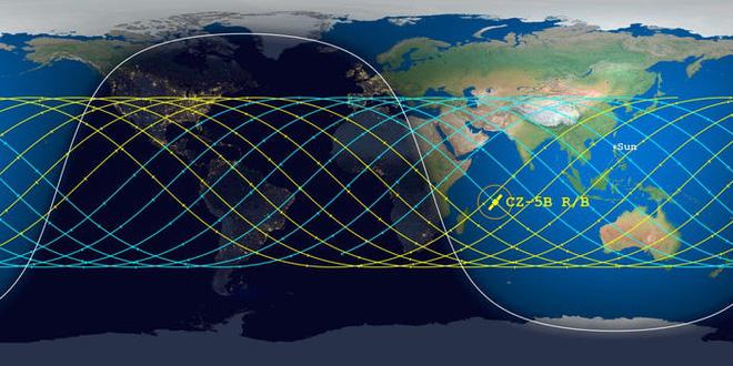 Hình ảnh đầu tiên về tầng lõi tên lửa Trung Quốc sắp rơi xuống Trái đất, chuyên gia dự đoán tỷ lệ rơi trúng dân thường chỉ như bị sét đánh - Ảnh 2.