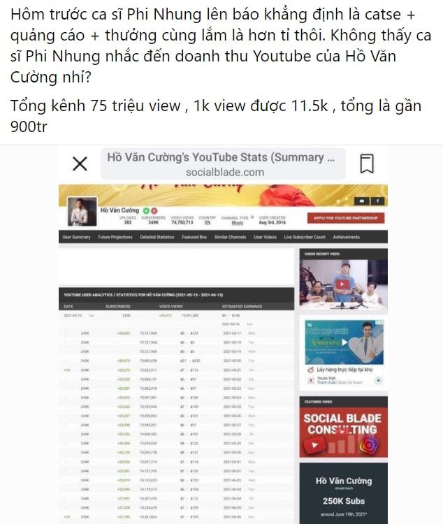Phi Nhung nói cát-xê Hồ Văn Cường chỉ hơn 1 tỷ đồng, netizen làm toán chất vấn: Doanh thu khủng từ YouTube thì sao? - Ảnh 1.