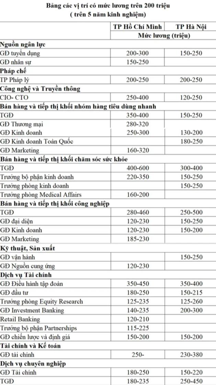 Các vị trí việc làm có mức lương trên 200 triệu ở Việt Nam - Ảnh 2.
