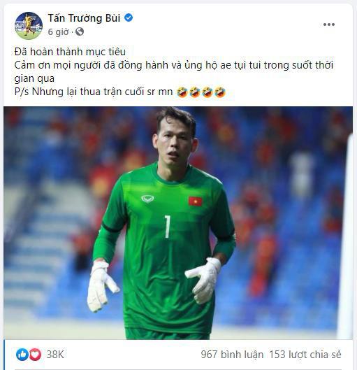 Thủ môn Tấn Trường xin lỗi người hâm mộ sau trận đấu với UAE - Ảnh 2.