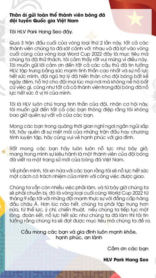 Không thể gặp mặt các tuyển thủ Việt Nam, thầy Park có hành động gây xúc động mạnh - Ảnh 1.