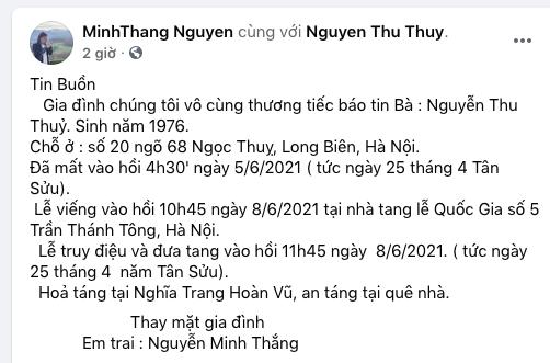 Hoa hậu Thu Thủy đột ngột qua đời - Ảnh 1.
