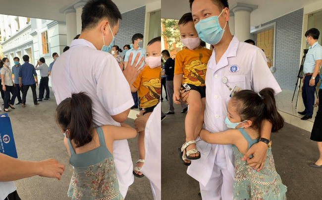 Bố tới Bắc Giang chống dịch, hai con khóc ôm mãi không rời: Người đàn ông mạnh mẽ đã rơi nước mắt
