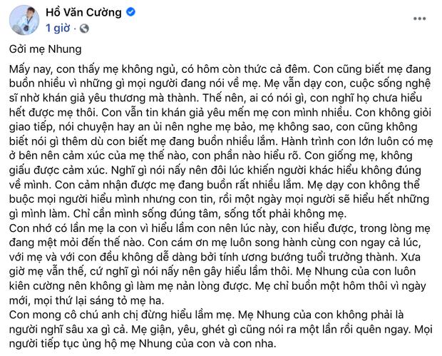 Hồ Văn Cường lên tiếng về ồn ào với Phi Nhung: Xác nhận tin nhắn là thật nhưng bị hack, phủ nhận bị bóc lột và nhận lỗi với mẹ - Ảnh 4.