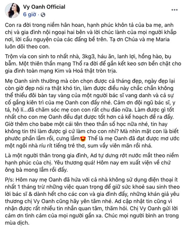 Phía Vy Oanh chính thức lên tiếng về thời gian sinh con dài 12 tháng kỷ lục đang gây xôn xao dư luận