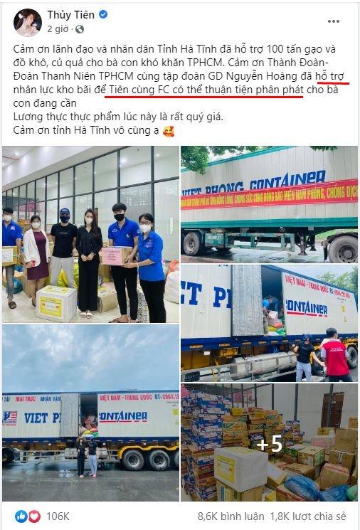 Ca sĩ Thủy Tiên lại bị mắng nhận vơ 1.000 tấn thực phẩm người Hà Tĩnh gửi tặng Sài Gòn vì dòng status ỡm ờ - Ảnh 1.