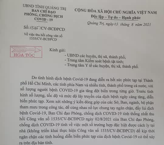 Quá nhiều trường hợp đặc biệt xin về nhà cách ly, Quảng Trị hỏa tốc thu hồi công văn - Ảnh 1.