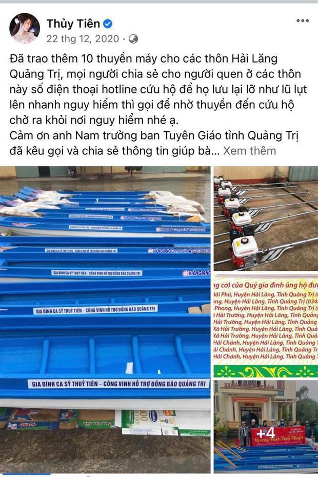 Netizen tranh cãi hình ảnh Thuỷ Tiên tặng thuyền máy cứu trợ miền Trung nhưng chỉ ghi tên 2 vợ chồng, phía chính chủ nói gì? - Ảnh 4.