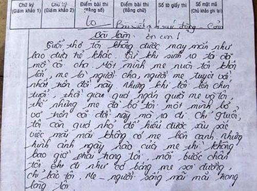 Bài văn viết về người mẹ của Nguyễn Thị Kiều Vân.