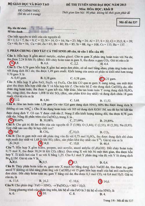 Đáp án đề thi môn Hóa khối B năm 2013