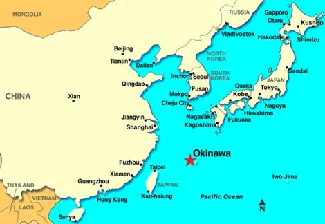 Okinawa chỉ là chấm nhỏ trên bản đồ nhưng có vị trí án ngữ toàn bộ Trung Quốc