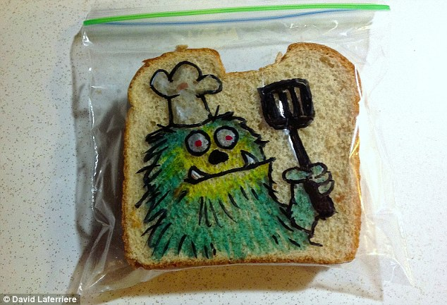 Monster art: One creative father doodles every morning on his children's lunch bags