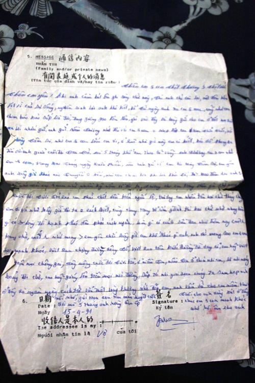 Những bức thư ông Trần Thiện Phụng gửi từ Trung Quốc về cho gia đình