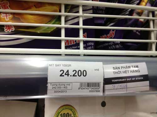 """Nhiều kệ hàng ở siêu thị Big C dán thông báo """"tạm thời hết hàng""""."""