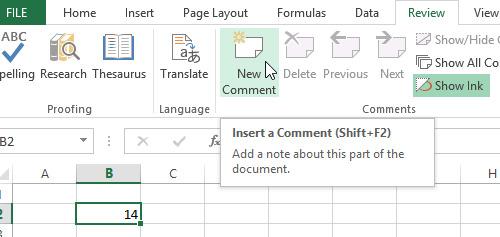 Thêm chú thích vào bảng tính trên Excel 2013 4