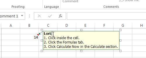 Thêm chú thích vào bảng tính trên Excel 2013 5