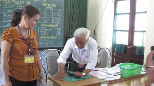 Chủ tịch hội đồng thi điểm trường THPT Nguyễn Công Trứ (Thái Bình) niêm phong tập giấy nháp của thí sinh để xác minh.