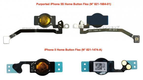 Hình ảnh nút Home của iPhone 5S so với nút Home của iPhone 5.