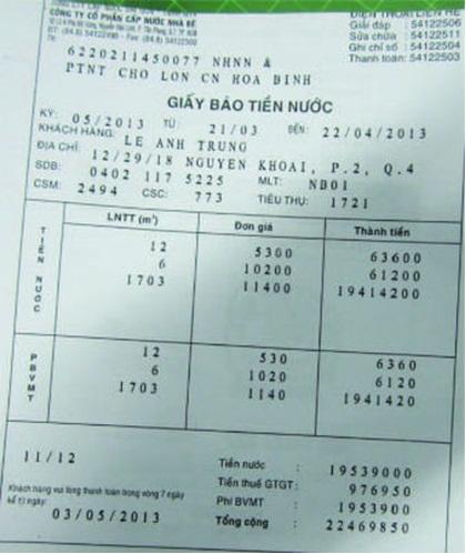 """Ảnh: Hóa đơn nước """"khủng""""  của khách hàng Lê Anh Trung (trú tại 12/29/18 Nguyễn Khoái, phường 2, quận 4, TP.HCM)."""