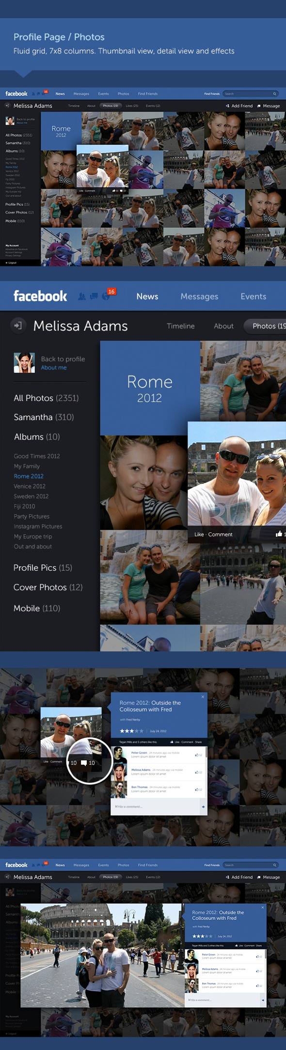 """Mẫu thiết kế giao diện Facebook mang hơi hướng """"phẳng"""" tuyệt đẹp"""