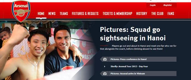 CĐV may mắn được Arsenal được đưa lên trang chủ của CLB.